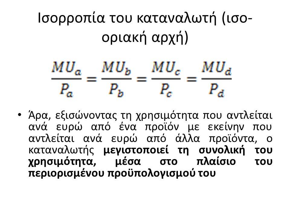 Ισορροπία του καταναλωτή (ισο- οριακή αρχή) • Άρα, εξισώνοντας τη χρησιμότητα που αντλείται ανά ευρώ από ένα προϊόν με εκείνην που αντλείται ανά ευρώ