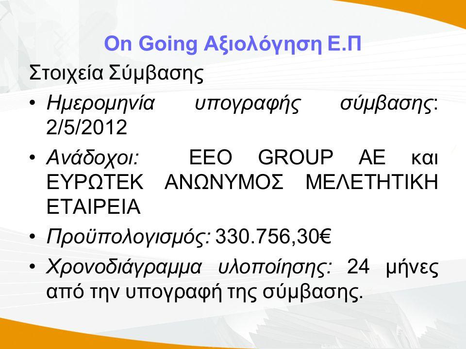 On Going Αξιολόγηση Ε.Π Στοιχεία Σύμβασης •Ημερομηνία υπογραφής σύμβασης: 2/5/2012 •Ανάδοχοι: EEO GROUP AE και ΕΥΡΩΤΕΚ ΑΝΩΝΥΜΟΣ ΜΕΛΕΤΗΤΙΚΗ ΕΤΑΙΡΕΙΑ •Προϋπολογισμός: 330.756,30€ •Χρονοδιάγραμμα υλοποίησης: 24 μήνες από την υπογραφή της σύμβασης.