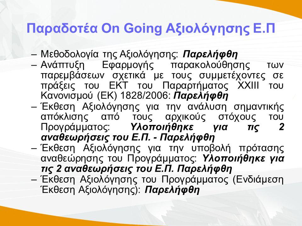 Παραδοτέα On Going Αξιολόγησης Ε.Π –Μεθοδολογία της Αξιολόγησης: Παρελήφθη –Ανάπτυξη Εφαρμογής παρακολούθησης των παρεμβάσεων σχετικά με τους συμμετέχοντες σε πράξεις του ΕΚΤ του Παραρτήματος ΧΧΙΙΙ του Kανονισμού (ΕΚ) 1828/2006: Παρελήφθη –Έκθεση Αξιολόγησης για την ανάλυση σημαντικής απόκλισης από τους αρχικούς στόχους του Προγράμματος: Υλοποιήθηκε για τις 2 αναθεωρήσεις του Ε.Π.