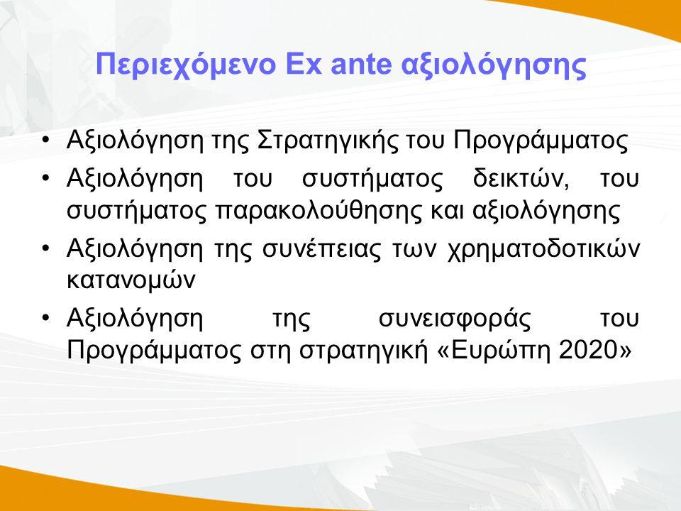 Περιεχόμενο Ex ante αξιολόγησης •Αξιολόγηση της Στρατηγικής του Προγράμματος •Αξιολόγηση του συστήματος δεικτών, του συστήματος παρακολούθησης και αξιολόγησης •Αξιολόγηση της συνέπειας των χρηματοδοτικών κατανομών •Αξιολόγηση της συνεισφοράς του Προγράμματος στη στρατηγική «Ευρώπη 2020»