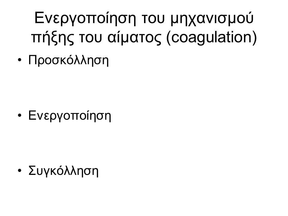 Ενεργοποίηση του μηχανισμού πήξης του αίματος (coagulation) •Προσκόλληση •Ενεργοποίηση •Συγκόλληση