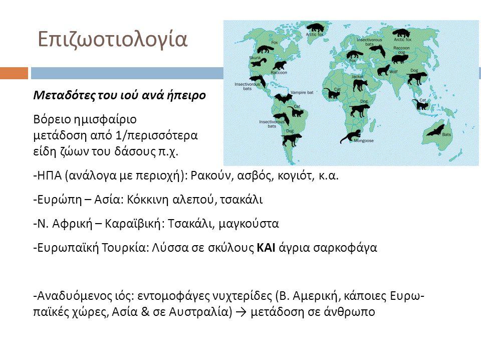 Επιζωοτιολογία Μεταδότες του ιού ανά ήπειρο Βόρειο ημισφαίριο μετάδοση από 1/περισσότερα είδη ζώων του δάσους π.χ. -ΗΠΑ (ανάλογα με περιοχή): Ρακούν,