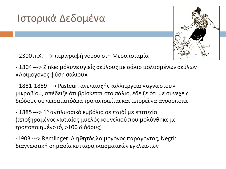 - 2300 π.Χ. ---> περιγραφή νόσου στη Μεσοποταμία - 1804 ---> Zinke: μόλυνε υγιείς σκύλους με σάλιο μολυσμένων σκύλων «Λοιμογόνος φύση σάλιου» - 1881-1