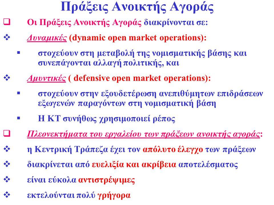 Πράξεις Ανοικτής Αγοράς  Οι Πράξεις Ανοικτής Αγοράς διακρίνονται σε:  Δυναμικές (dynamic open market operations):  στοχεύουν στη μεταβολή της νομισ
