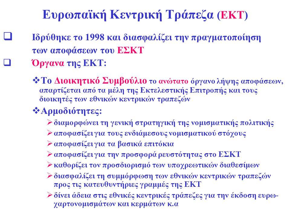 Ευρωπαϊκή Κεντρική Τράπεζα (ΕΚΤ)  Ιδρύθηκε το 1998 και διασφαλίζει την πραγματοποίηση των αποφάσεων του ΕΣΚΤ  Όργανα της ΕΚΤ:  Το Διοικητικό Συμβού