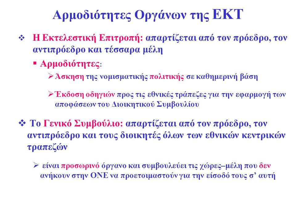 Αρμοδιότητες Οργάνων της ΕΚΤ  Η Εκτελεστική Επιτροπή: απαρτίζεται από τον πρόεδρο, τον αντιπρόεδρο και τέσσαρα μέλη  Αρμοδιότητες :  Άσκηση της νομ