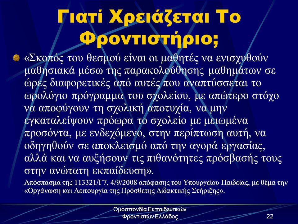 Ομοσπονδία Εκπαιδευτικών Φροντιστών Ελλάδος22 Γιατί Χρειάζεται Το Φροντιστήριο; «Σκοπός του θεσμού είναι οι μαθητές να ενισχυθούν μαθησιακά μέσω της π