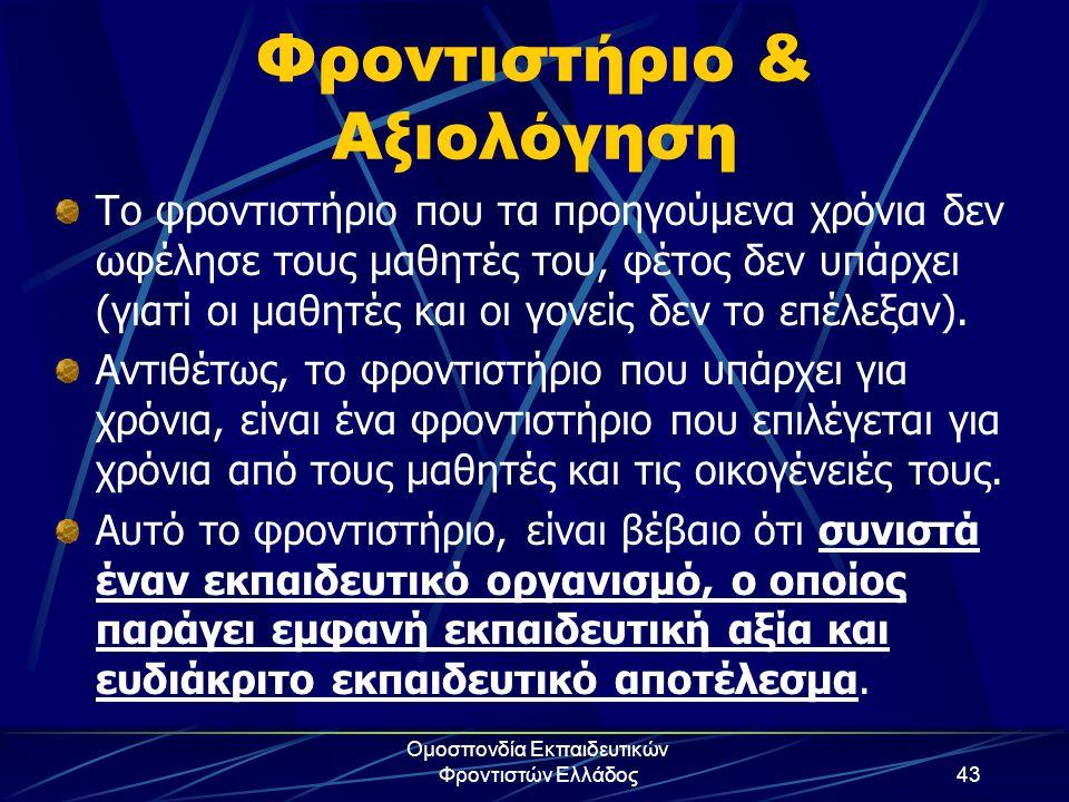 Ομοσπονδία Εκπαιδευτικών Φροντιστών Ελλάδος43 Φροντιστήριο & Αξιολόγηση Το φροντιστήριο που τα προηγούμενα χρόνια δεν ωφέλησε τους μαθητές του, φέτος