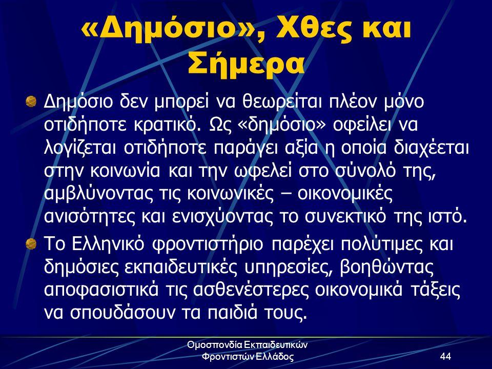 Ομοσπονδία Εκπαιδευτικών Φροντιστών Ελλάδος44 «Δημόσιο», Χθες και Σήμερα Δημόσιο δεν μπορεί να θεωρείται πλέον μόνο οτιδήποτε κρατικό. Ως «δημόσιο» οφ
