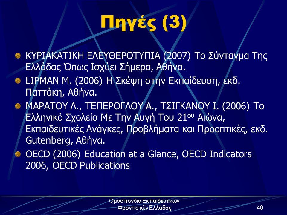 Ομοσπονδία Εκπαιδευτικών Φροντιστών Ελλάδος49 Πηγές (3) ΚΥΡΙΑΚΑΤΙΚΗ ΕΛΕΥΘΕΡΟΤΥΠΙΑ (2007) Το Σύνταγμα Της Ελλάδας Όπως Ισχύει Σήμερα, Αθήνα. LIPMAN M.