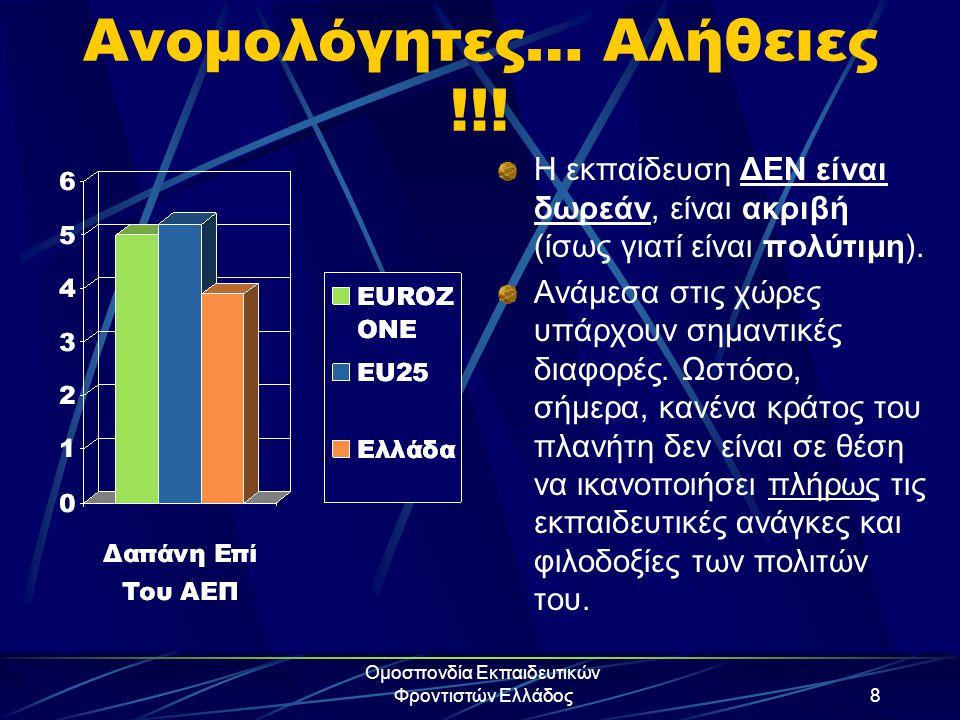 Ομοσπονδία Εκπαιδευτικών Φροντιστών Ελλάδος8 Ανομολόγητες… Αλήθειες !!! Η εκπαίδευση ΔΕΝ είναι δωρεάν, είναι ακριβή (ίσως γιατί είναι πολύτιμη). Ανάμε