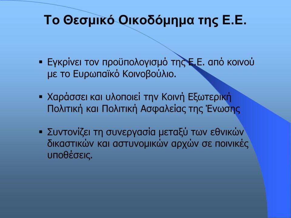 Το Θεσμικό Οικοδόμημα της Ε.Ε.  Εγκρίνει τον προϋπολογισμό της Ε.Ε. από κοινού με το Ευρωπαϊκό Κοινοβούλιο.  Χαράσσει και υλοποιεί την Κοινή Εξωτερι