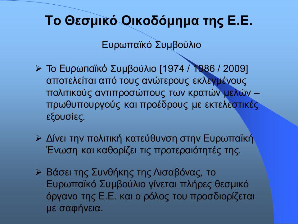 Το Θεσμικό Οικοδόμημα της Ε.Ε. Ευρωπαϊκό Συμβούλιο  Το Ευρωπαϊκό Συμβούλιο [1974 / 1986 / 2009] αποτελείται από τους ανώτερους εκλεγμένους πολιτικούς