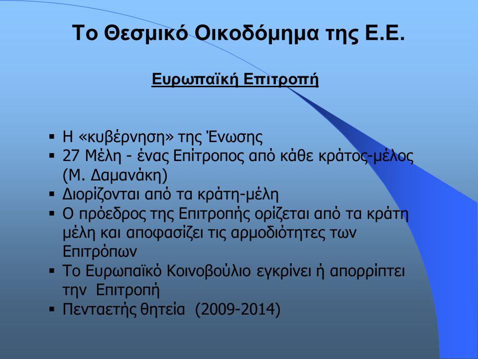 Το Θεσμικό Οικοδόμημα της Ε.Ε. Ευρωπαϊκή Επιτροπή  Η «κυβέρνηση» της Ένωσης  27 Μέλη - ένας Επίτροπος από κάθε κράτος-μέλος (Μ. Δαμανάκη)  Διορίζον