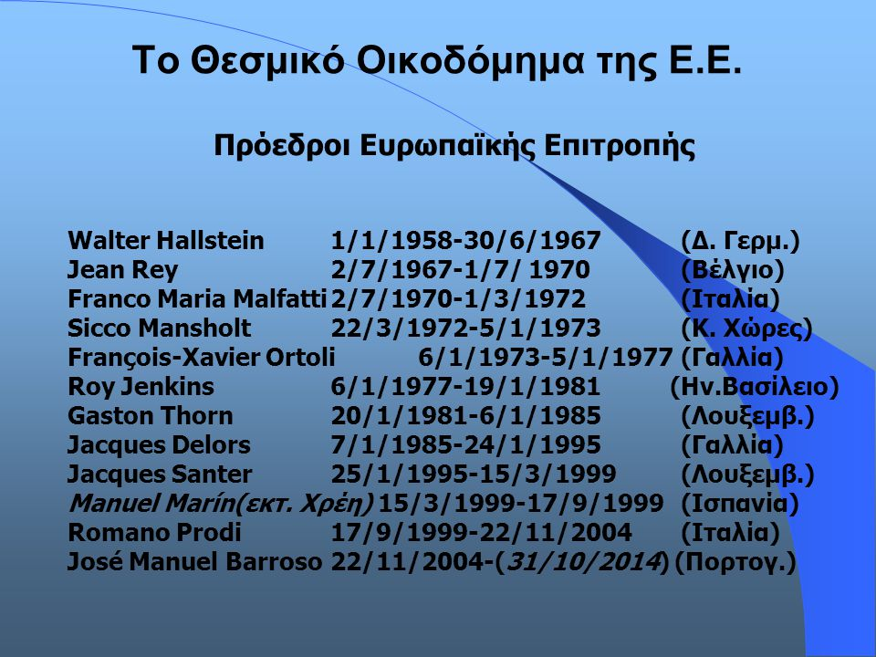 Το Θεσμικό Οικοδόμημα της Ε.Ε.Πρόεδροι Ευρωπαϊκής Επιτροπής Walter Hallstein1/1/1958-30/6/1967 (Δ.