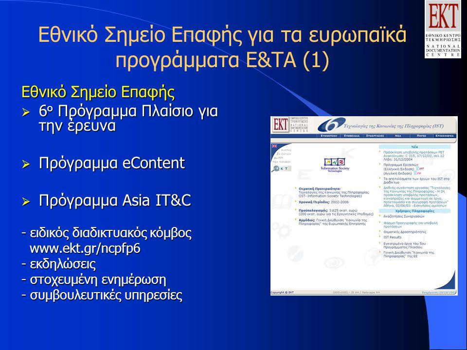 Εθνικό Σημείο Επαφής για τα ευρωπαϊκά προγράμματα Ε&ΤΑ (1) Εθνικό Σημείο Επαφής  6 ο Πρόγραμμα Πλαίσιο για την έρευνα  Πρόγραμμα eContent  Πρόγραμμα Asia IT&C - ειδικός διαδικτυακός κόμβος www.ekt.gr/ncpfp6 www.ekt.gr/ncpfp6 - εκδηλώσεις - στοχευμένη ενημέρωση - συμβουλευτικές υπηρεσίες