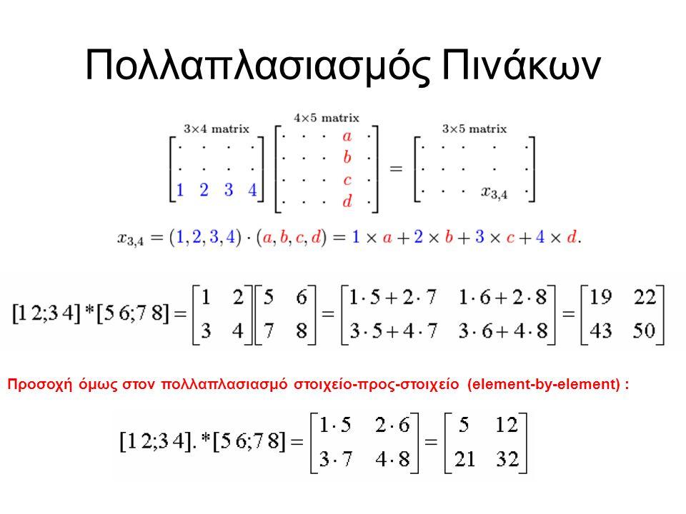 Πολλαπλασιασμός Πινάκων Προσοχή όμως στον πολλαπλασιασμό στοιχείο-προς-στοιχείο (element-by-element) :