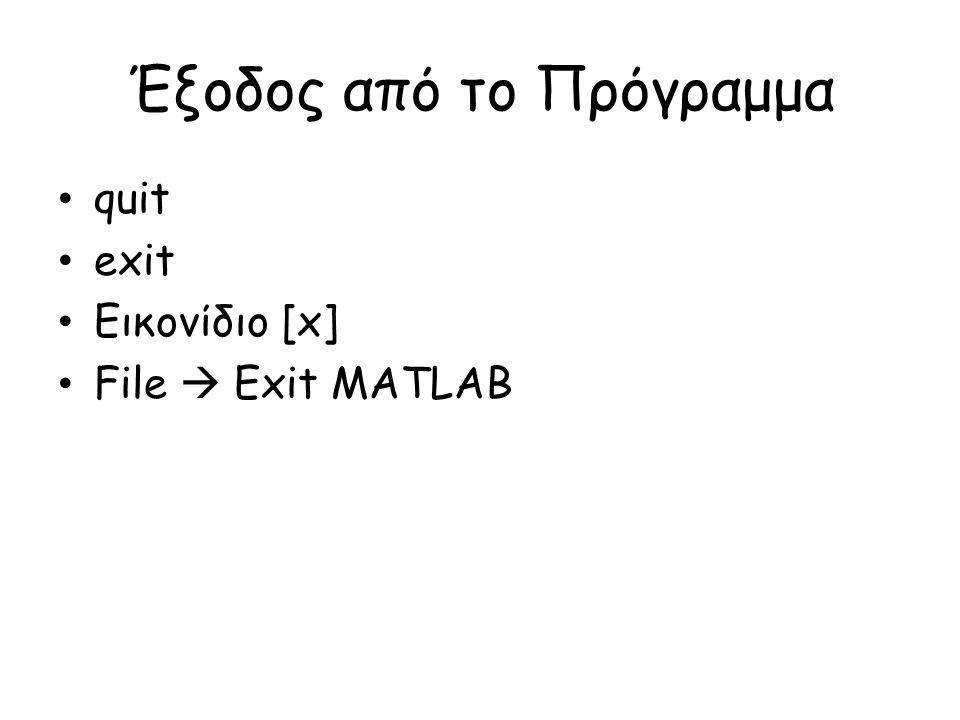 Έξοδος από το Πρόγραμμα • quit • exit • Εικονίδιο [x] • File  Exit MATLAB