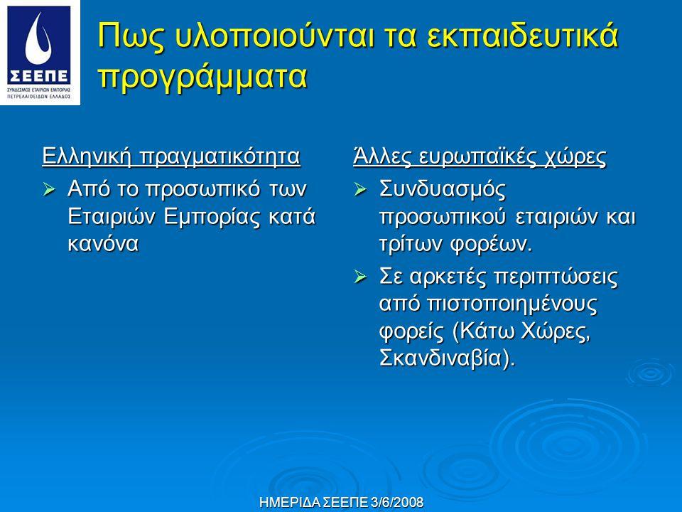 ΗΜΕΡΙΔΑ ΣΕΕΠΕ 3/6/2008 Πως υλοποιούνται τα εκπαιδευτικά προγράμματα Ελληνική πραγματικότητα  Από το προσωπικό των Εταιριών Εμπορίας κατά κανόνα Άλλες ευρωπαϊκές χώρες  Συνδυασμός προσωπικού εταιριών και τρίτων φορέων.