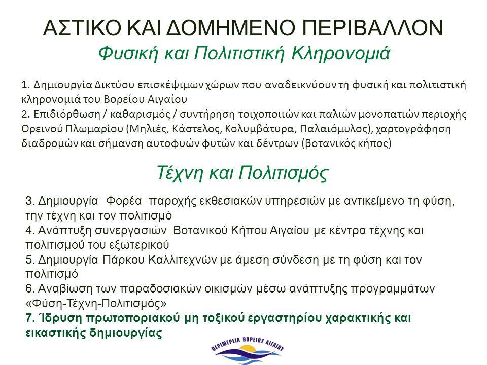 1. Δημιουργία Δικτύου επισκέψιμων χώρων που αναδεικνύουν τη φυσική και πολιτιστική κληρονομιά του Βορείου Αιγαίου 2. Επιδιόρθωση / καθαρισμός / συντήρ