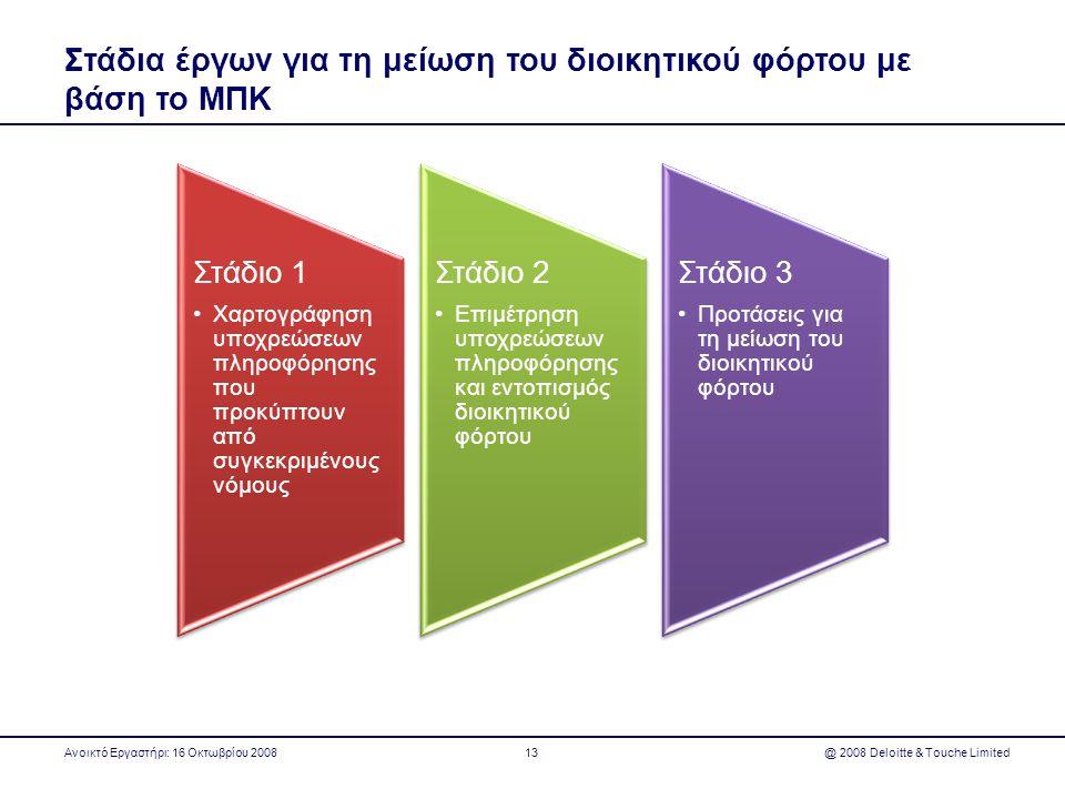Στάδια έργων για τη μείωση του διοικητικού φόρτου με βάση το ΜΠΚ Ανοικτό Εργαστήρι: 16 Οκτωβρίου 2008 @ 2008 Deloitte & Touche Limited13 Στάδιο 1 •Χαρ