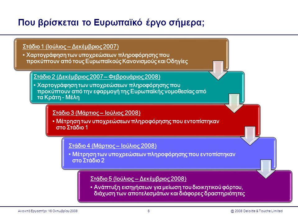 Που βρίσκεται το Ευρωπαϊκό έργο σήμερα; Στάδιο 1 (Ιούλιος – Δεκέμβριος 2007) •Χαρτογράφηση των υποχρεώσεων πληροφόρησης που προκύπτουν από τους Ευρωπα