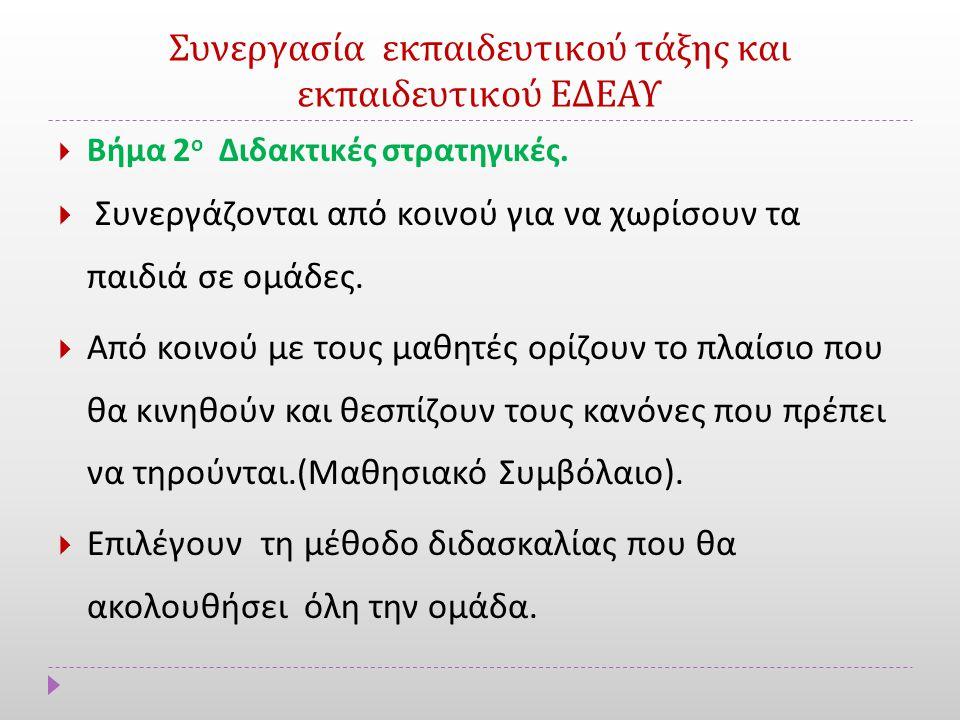 Συνεργασία εκπαιδευτικού τάξης και εκπαιδευτικού ΕΔΕΑΥ  Βήμα 2 ο Διδακτικές στρατηγικές.
