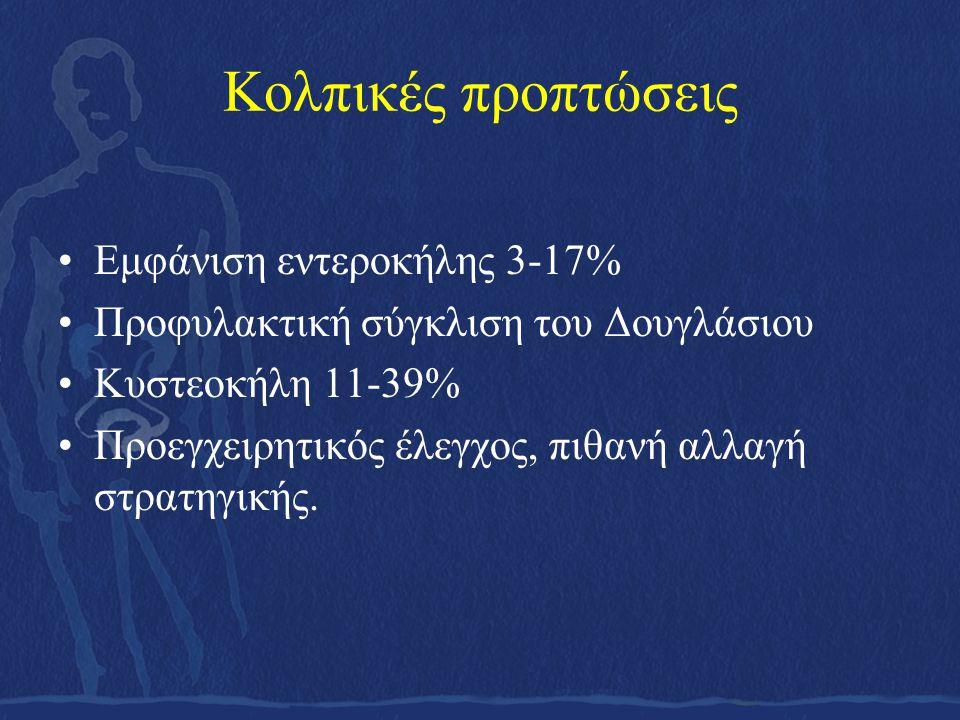Κολπικές προπτώσεις •Εμφάνιση εντεροκήλης 3-17% •Προφυλακτική σύγκλιση του Δουγλάσιου •Κυστεοκήλη 11-39% •Προεγχειρητικός έλεγχος, πιθανή αλλαγή στρατ