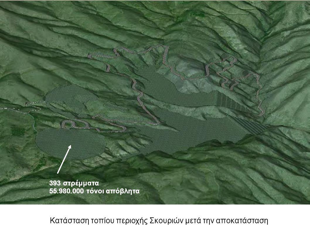 Κατάσταση τοπίου περιοχής Σκουριών μετά την αποκατάσταση 393 στρέμματα 55.980.000 τόνοι απόβλητα