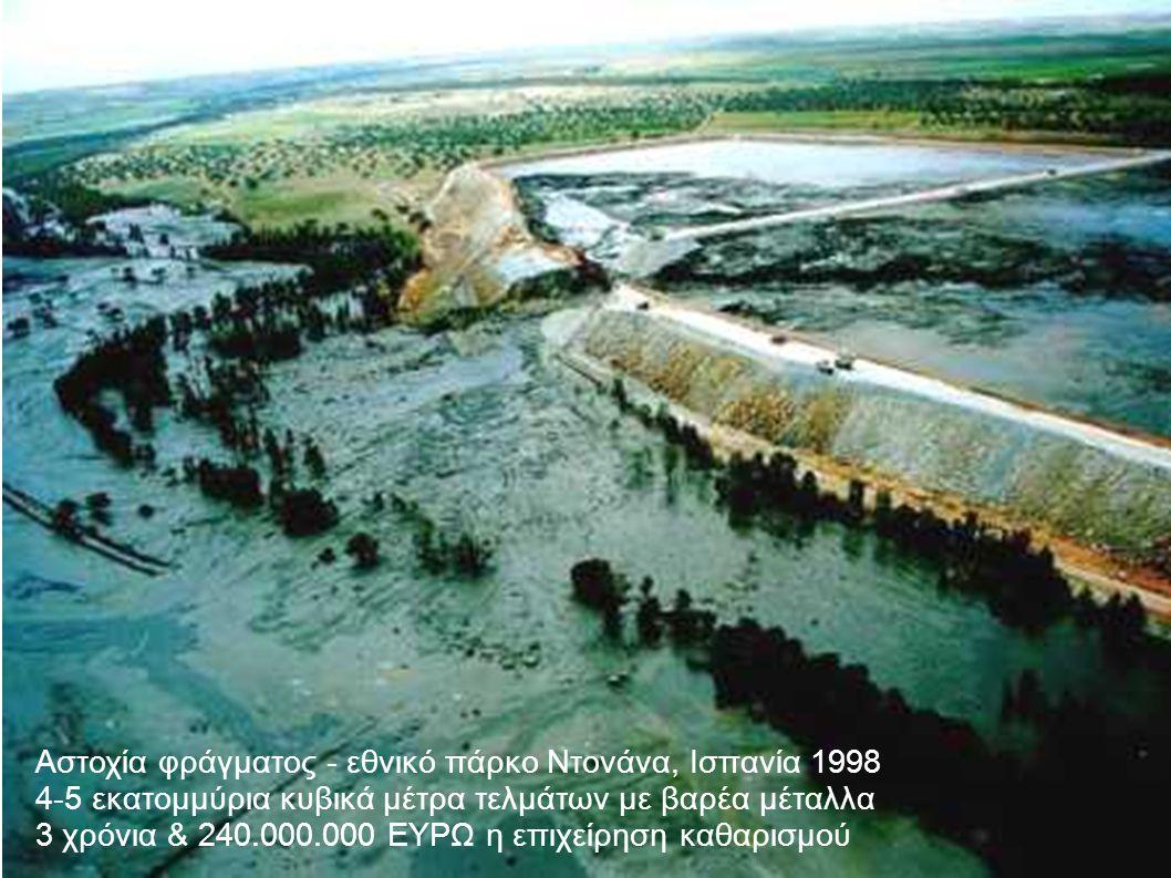 Αστοχία φράγματος - εθνικό πάρκο Ντονάνα, Ισπανία 1998 4-5 εκατομμύρια κυβικά μέτρα τελμάτων με βαρέα μέταλλα 3 χρόνια & 240.000.000 ΕΥΡΩ η επιχείρηση καθαρισμού