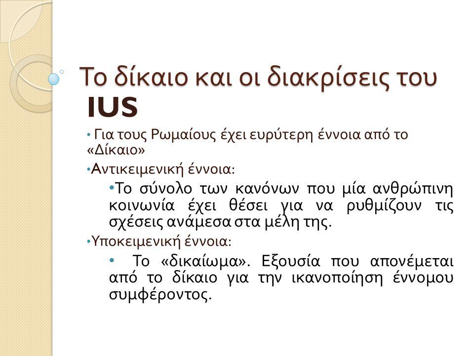 Το δίκαιο και οι διακρίσεις του IUS • Για τους Ρωμαίους έχει ευρύτερη έννοια από το « Δίκαιο » • A ντικειμενική έννοια : • Το σύνολο των κανόνων που μ