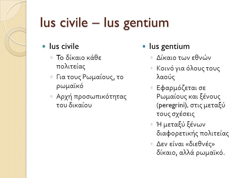 Ius civile – Ius gentium  Ius civile ◦ To δίκαιο κάθε πολιτείας ◦ Για τους Ρωμαίους, το ρωμαϊκό ◦ Αρχή προσωπικότητας του δικαίου  Ius gentium ◦ Δίκ