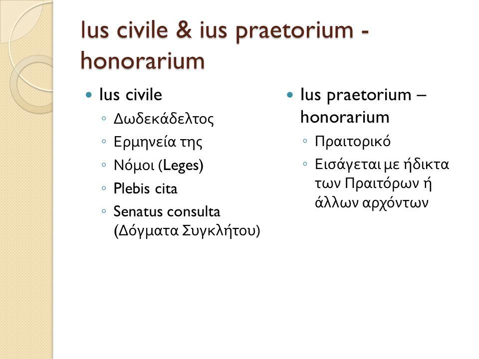 Ι us civile & ius praetorium - honorarium  Ius civile ◦ Δωδεκάδελτος ◦ Ερμηνεία της ◦ Νόμοι (Leges) ◦ Plebis cita ◦ Senatus consulta ( Δόγματα Συγκλή