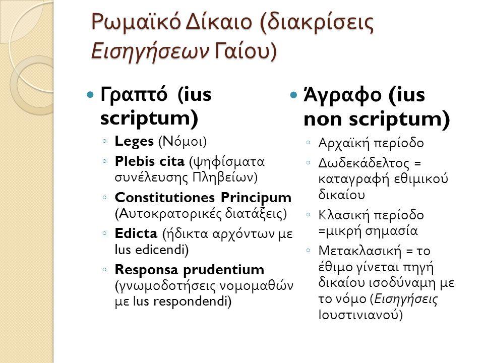 Ρωμαϊκό Δίκαιο ( διακρίσεις Εισηγήσεων Γαίου )  Γραπτό (ius scriptum) ◦ Leges (N όμοι ) ◦ Plebis cita ( ψηφίσματα συνέλευσης Πληβείων ) ◦ Constitutio