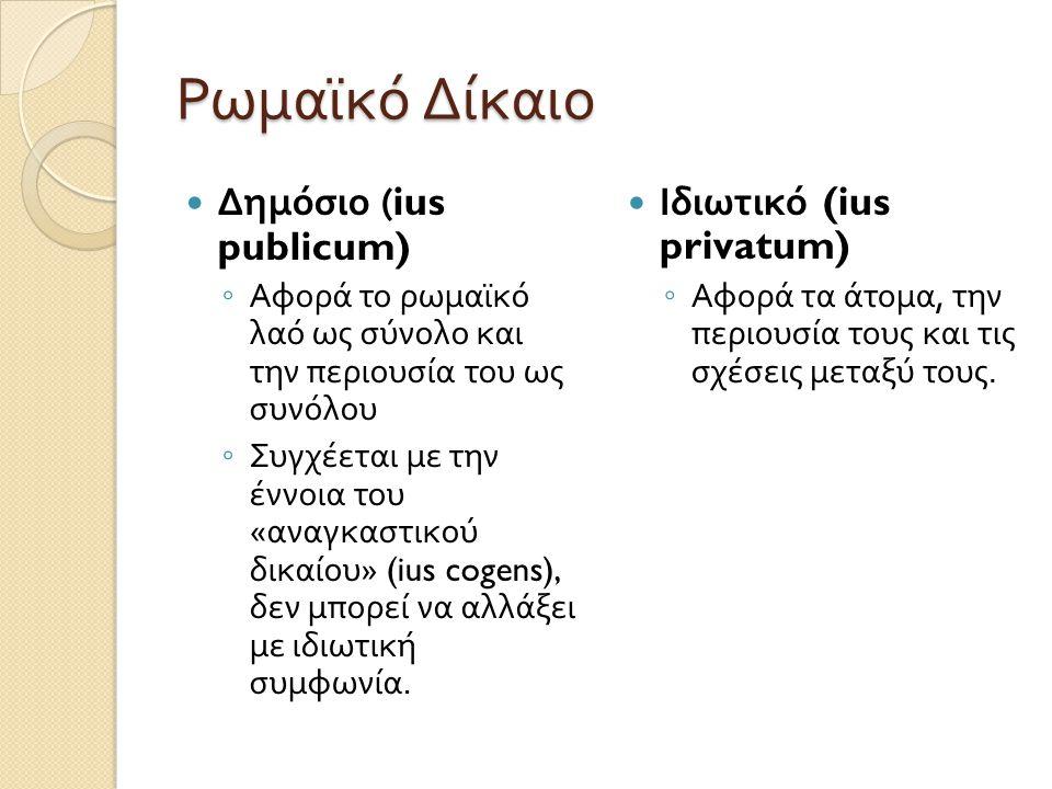 Ρωμαϊκό Δίκαιο  Δημόσιο (ius publicum) ◦ Αφορά το ρωμαϊκό λαό ως σύνολο και την περιουσία του ως συνόλου ◦ Συγχέεται με την έννοια του « αναγκαστικού