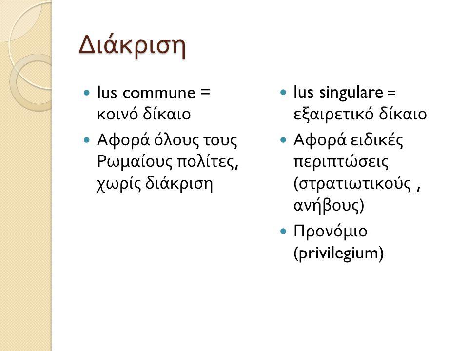 Ius civile – Ius gentium  Ius civile ◦ To δίκαιο κάθε πολιτείας ◦ Για τους Ρωμαίους, το ρωμαϊκό ◦ Αρχή προσωπικότητας του δικαίου  Ius gentium ◦ Δίκαιο των εθνών ◦ Κοινό για όλους τους λαούς ◦ Εφαρμόζεται σε Ρωμαίους και ξένους (peregrini), στις μεταξύ τους σχέσεις ◦ Ή μεταξύ ξένων διαφορετικής πολιτείας ◦ Δεν είναι « διεθνές » δίκαιο, αλλά ρωμαϊκό.