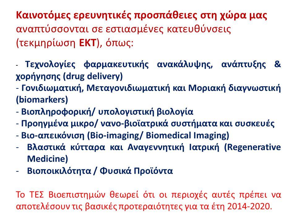 Καινοτόμες ερευνητικές προσπάθειες στη χώρα μας αναπτύσσονται σε εστιασμένες κατευθύνσεις (τεκμηρίωση ΕΚΤ), όπως: - Τεχνολογίες φαρμακευτικής ανακάλυψης, ανάπτυξης & χορήγησης (drug delivery) - Γονιδιωματική, Μεταγονιδιωματική και Μοριακή διαγνωστική (biomarkers) - Βιοπληροφορική/ υπολογιστική βιολογία - Προηγμένα μικρο/ νανο-βιοϊατρικά συστήματα και συσκευές - Βιο-απεικόνιση (Bio-imaging/ Biomedical Imaging) -Βλαστικά κύτταρα και Αναγεννητική Ιατρική (Regenerative Medicine) -Βιοποικιλότητα / Φυσικά Προϊόντα Το ΤΕΣ Βιοεπιστημών θεωρεί ότι οι περιοχές αυτές πρέπει να αποτελέσουν τις βασικές προτεραιότητες για τα έτη 2014-2020.