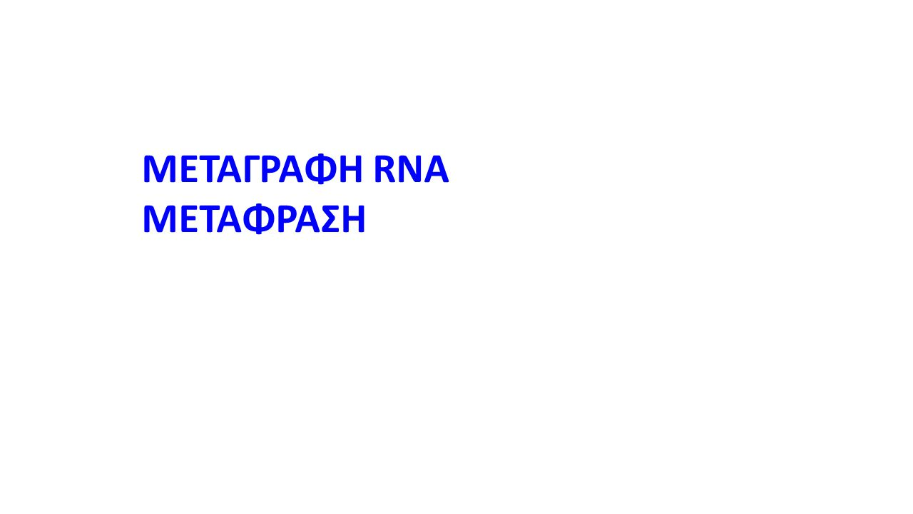 ΜΕΤΑΓΡΑΦΗ RNA ΜΕΤΑΦΡΑΣΗ