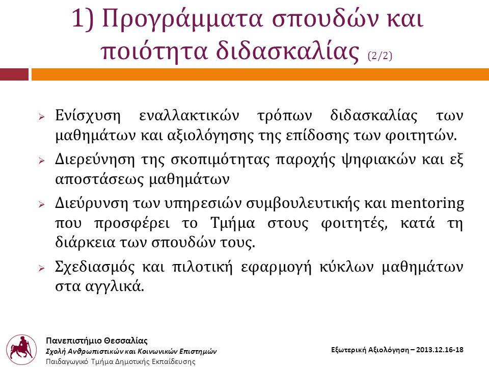 Πανεπιστήμιο Θεσσαλίας Σχολή Ανθρωπιστικών και Κοινωνικών Επιστημών Παιδαγωγικό Τμήμα Δημοτικής Εκπαίδευσης Εξωτερική Αξιολόγηση – 2013.12.16-18 1) Προγράμματα σπουδών και ποιότητα διδασκαλίας (2/2)  Ενίσχυση εναλλακτικών τρόπων διδασκαλίας των μαθημάτων και αξιολόγησης της επίδοσης των φοιτητών.