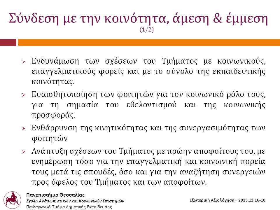 Πανεπιστήμιο Θεσσαλίας Σχολή Ανθρωπιστικών και Κοινωνικών Επιστημών Παιδαγωγικό Τμήμα Δημοτικής Εκπαίδευσης Εξωτερική Αξιολόγηση – 2013.12.16-18 Σύνδεση με την κοινότητα, άμεση & έμμεση (2/2)  Εστίαση στην προσωπική ανάπτυξη των μελλοντικών εκπαιδευτικών, στις ηθικές και δεοντολογικές αρχές του επαγγέλματος, καθώς και στην επαγγελματική και κοινωνική συνειδητότητα ως προϋπόθεση για την αποτελεσματική παρουσία των εκπαιδευτικών.