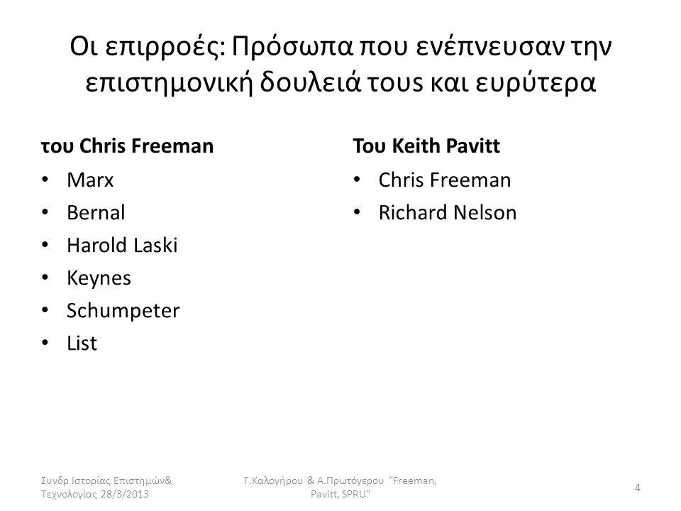 Οι επιρροές: Πρόσωπα που ενέπνευσαν την επιστημονική δουλειά τoυs και ευρύτερα του Chris Freeman • Marx • Bernal • Harold Laski • Keynes • Schumpeter