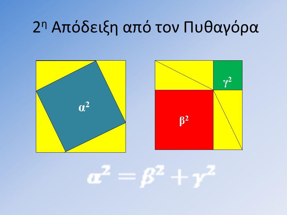 2 η Απόδειξη από τον Πυθαγόρα β 2 γ 2 α 2