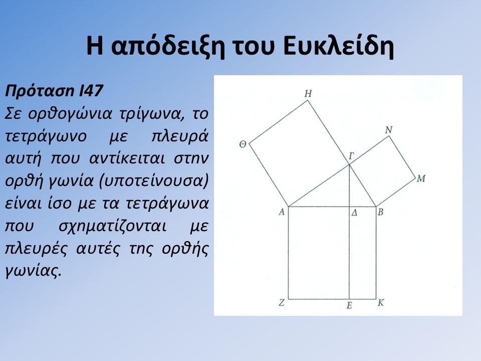 Η απόδειξη του Ευκλείδη Πρότασn I47 Σε ορθογώνια τρίγωνα, το τετράγωνο µε πλευρά αυτή που αντίκειται στnν oρθή γωνία (υποτείνουσα) είναι ίσο µε τα τετράγωνα που σχnµατίζονται µε πλευρές αυτές τnς ορθής γωνίας.