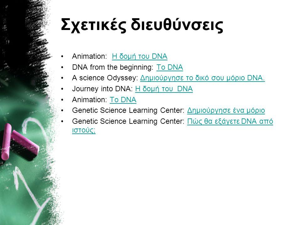 Σχετικές διευθύνσεις •Animation: Η δομή του DNAΗ δομή του DNA •DNA from the beginning: To DNATo DNA •Α science Odyssey: Δημιούργησε το δικό σου μόριο