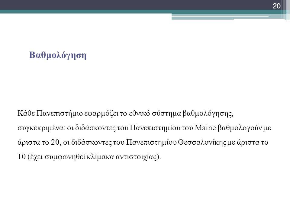Βαθμολόγηση Κάθε Πανεπιστήμιο εφαρμόζει το εθνικό σύστημα βαθμολόγησης, συγκεκριμένα: οι διδάσκοντες του Πανεπιστημίου του Μaine βαθμολογούν με άριστα το 20, οι διδάσκοντες του Πανεπιστημίου Θεσσαλονίκης με άριστα το 10 (έχει συμφωνηθεί κλίμακα αντιστοιχίας).