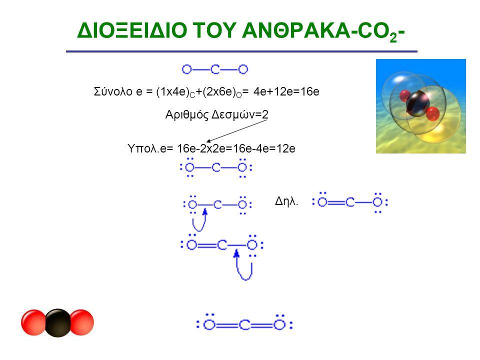 ΔΙΟΞΕΙΔΙΟ ΤΟΥ ΑΝΘΡΑΚΑ-CO 2 - Δηλ. Σύνολο e = (1x4e) C +(2x6e) O = 4e+12e=16e Aριθμός Δεσμών=2 Υπολ.e= 16e-2x2e=16e-4e=12e