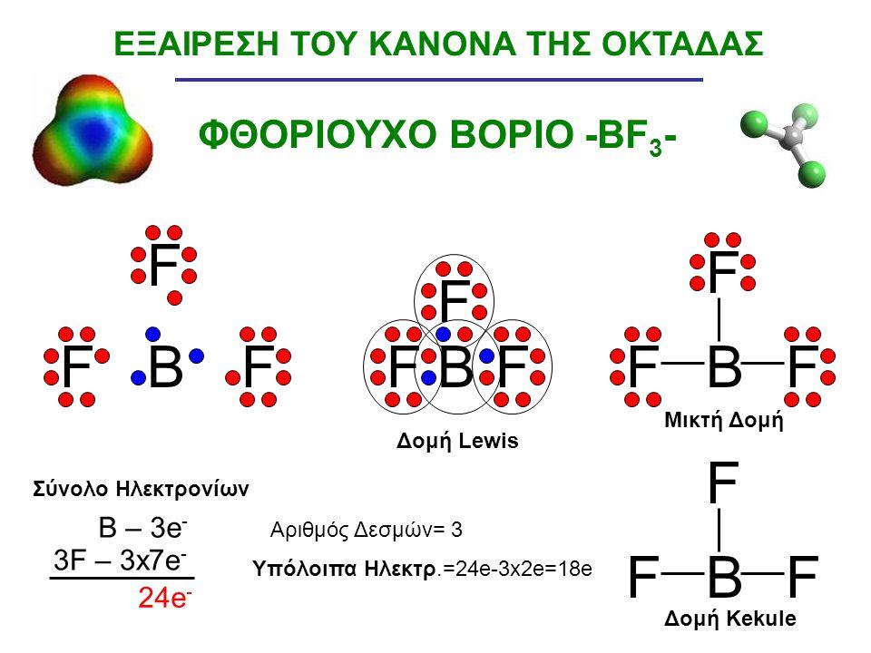 ΦΘΟΡΙΟΥΧΟ ΒΟΡΙΟ -BF 3 - BBB F FF F FF F FF B F FF ΕΞΑΙΡΕΣΗ ΤΟΥ ΚΑΝΟΝΑ ΤΗΣ ΟΚΤΑΔΑΣ B – 3e - 3F – 3x7e - 24e - Σύνολο Ηλεκτρονίων Υπόλοιπα Ηλεκτρ.=24e-3