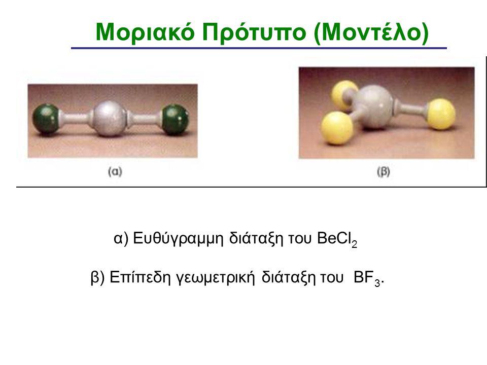 α) Ευθύγραμμη διάταξη του BeCl 2 β) Επίπεδη γεωμετρική διάταξη του BF 3. Μοριακό Πρότυπο (Μοντέλο)