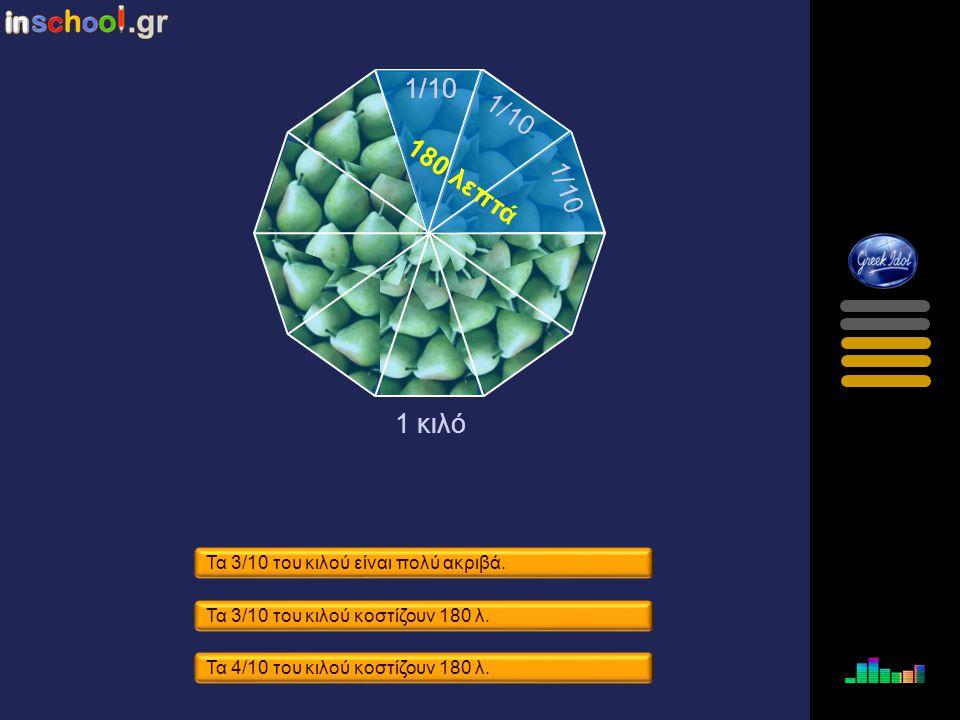 Τα 3/10 του κιλού είναι 4 Χ 1/10. Τα 3/10 του κιλού είναι μεγάλη ποσότητα. Τα 3/10 τουκιλού είναι 3 Χ 1/10. 1 κιλό 3/10 του κιλού 1/10