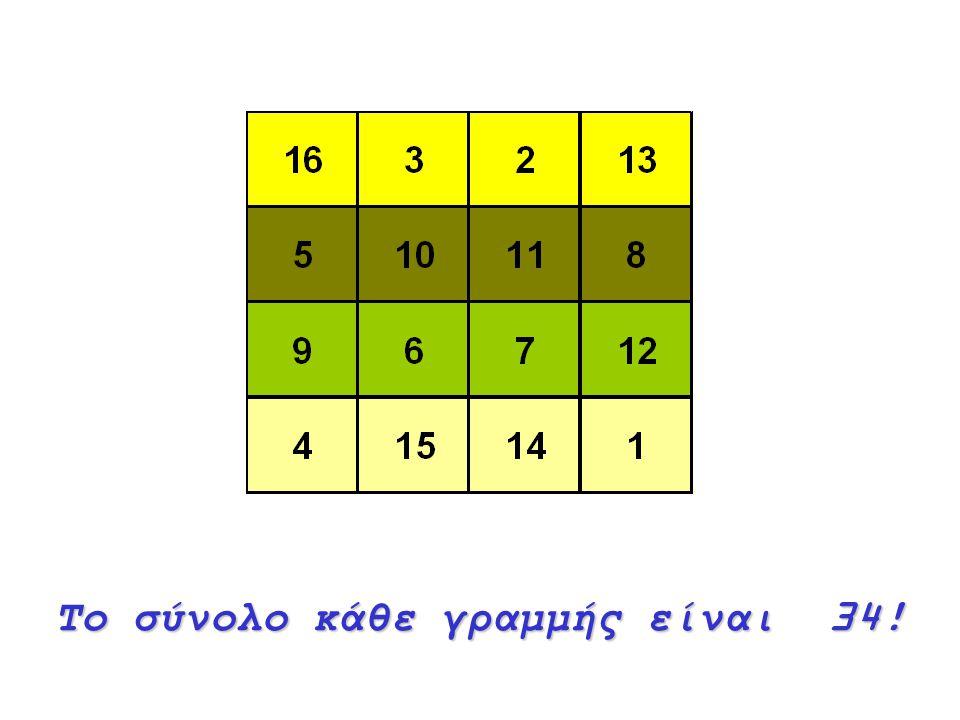 Το σύνολο κάθε στήλης είναι34! Το σύνολο κάθε στήλης είναι 34!
